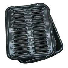 2 Pcs Porcelain Broiler Pan 2 qt. Black Nonstick Rectangle Cooking Broiling Pans