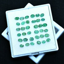 Natural Emerald Colombian 36 Pcs Sparkling Green Untreated Gems Lot~5mm-6mm