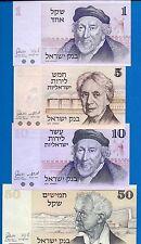 Israel P-38, P-39, P-43, P-46 Uncirculated Banknotes Set Asia Set # 5