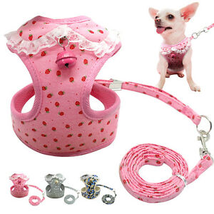 Mesh Padded Dog Harnesses and Leash Chihuahua Harness Lace Vest for Pet Puppy