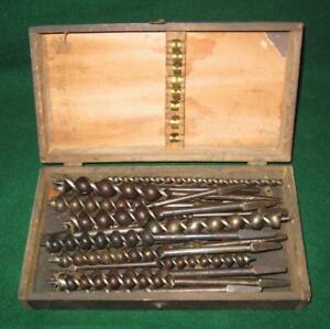 Vintage Lot of 12 Auger Drill Bits - Fiskdale, Sargent, etc. - Original Oak Box