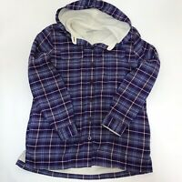 LL BEAN Thermal Lined Hooded Shirt Medium Purple / White  Plaid Button MSRP $84
