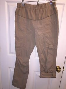USED NEW ADDITIONS MATERNITY BROWN ROLL UP PANTS SZ 8