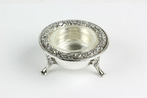 Vintage S. Kirk & Son Repousse Sterling Silver Salt Dip Cellar with Insert