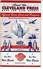 July 31, 1945 Cleveland Indians Scorecard program vs.CHICAGO WHITE SOX