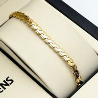 """Men Chain Bracelet 18K Yellow Gold Filled 8"""" Charms Link New"""