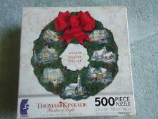 "THOMAS KINKADE 500 PC SHAPED PUZZLE ""CHRISTMAS VILLAGE WREATH""  2009 COLL. USED"