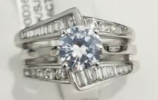 Clearance 14k White Gold Baguette Diamond Anniversary Ring Wrap Enhancer Guard