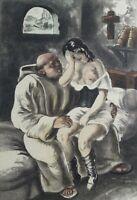 Campana Saint-André: Monje Y El Joven Niña - Agua Fuerte Erótica, 1931