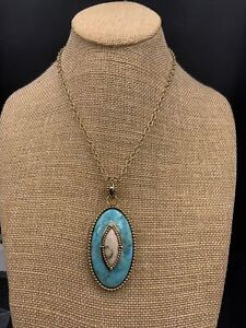 Barse Antigua Enhancer Necklace- Turquoise & African Opal- Mixed Metals- NWT