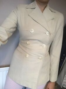 Bay Trading Cream Summer Smart Blazer Pea Coat Jacket  / Size 8
