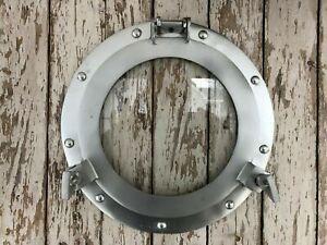 "12"" Porthole Glass Natural silver Finish Nautical Decor Ship Cabin Window"