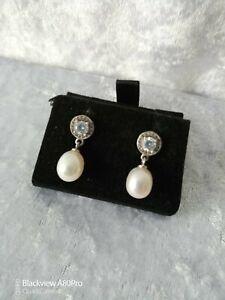 Sterling silver 925, CZ & Genuine Freshwater Pearl Dangly Stud Earrings