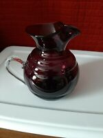 Blenko 2001 etched Handcraft USA Purple Water Pitcher Clear Applied Handle