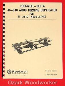 """ROCKWELL-DELTA 46-840 11"""" & 12"""" Lathe Duplicator Instruction Part Manual 1018"""