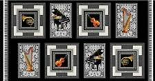 Symphony Squares Panel (8 Music / Musical Instruments) Cotton Quilting Fabric