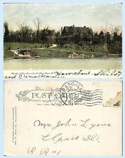 Glen Oak Park Pavillion & Boat House Peoria Illinois 1907 UDB Postcard Scarce