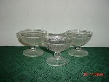 "3-PC TIARA ""SANDWICH GLASS"" CLEAR 3 3/4"" PEDESTAL PUDDING GLASSES/FREE SHIP!"