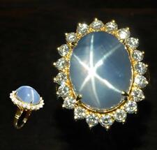 Golconda Star Sapphire and Diamonds in 18k Yellow Gold