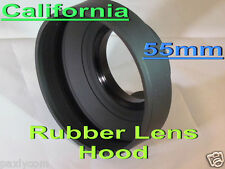 55mm 3 Stage  Rubber Lens Hood Canon Nikon Sony Sigma Pentax Olympus Panasonic