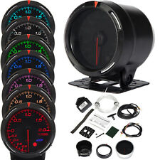 "12V 2.36""/60mm LED 7 Colors Auto Car Boost Gauge Meter Turbo Engine Conditions"