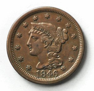 1846 1c Braided Hair Large Cent One Penny US Tall Date