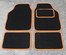 FORD FIESTA UNIVERSAL Car Floor Mats Black & Orange Trim