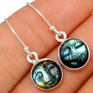Carved Face - Labradorite - Madagascar 925 Silver Earrings Jewelry BE27658