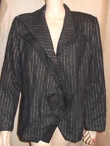 AZAD artsy USA bow det asymmetrical WOOL silver & gray PINSTRIPE Blazer sz 14 XL