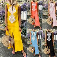 Ladies Women's Printed Sleeveless V-neck Long Maxi Dress Split Hem Baggy Kaftan