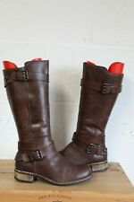 BROWN LEATHER RIDING STYLE BOOTS SIZE 4 / 37 BY MATALAN USED CONDITION