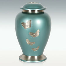 Avondale Teal Butterfly Funeral Urn, Adult,Brass, Free Shipping, New!