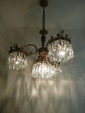 Vintage 4 light Brass and Crystal Old Basket Chandelier
