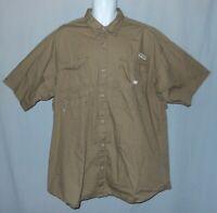 Mens Columbia PFG Shirt Size XL Olive Short Sleeve Vented Back Fishing Camping