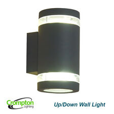Dark Grey Charcoal Up/Down Outdoor Exterior Wall Light - 240V GX53