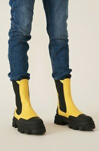 GANNI CALF LEATHER MID CHELSEA BOOT - YELLOW