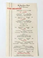 Vintage The Hay-Adams House Club Breakfast Menu Fine Dining Hotel Menu 1950's