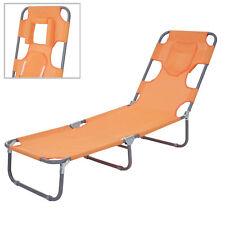 Chaise longue de jardin HWC-B11, fonction position sur le ventre, tissu ~ orange