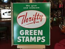 """Original Thrifty GREEN STAMPS Tin Double Sided Advertising Flange Sign """"Video"""""""