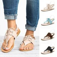 Summer Women Toepost Flat Thong Slipper Clip Toe Flip Flop Beach Sandals Shoes