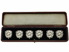 Set of Six Sterling Silver Buttons - Art Nouveau Style - Antique Edwardian
