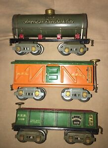American Flyer O Gauge 1118 Tank Car Prewar 8 Wheel Orange Box Car Green Freight