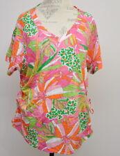 Caribbean Joe 2X Tickled Pink V-Neck Burnout Shirt Women's Plus Size Top New