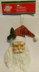 """Santa Claus Christmas Plaid Hat Ornament Wired Hat for Posing 10"""" Long"""