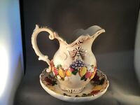 """ENESCO WASH PITCHER EWER AND BOWL """"HARVEST"""" SCULPTED FRUIT DESIGN HAND-PAINTED"""
