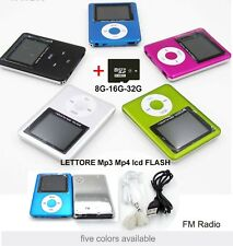 MINI LETTORE MP3 MP4 PLAYER ALLUMINIO CLIP USB lcd + scheda MICRO SD TF da 16GB