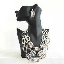 Chicos Silver Multi-layer Chain Chunky Crystal Necklace Dangle Pendant Earrings