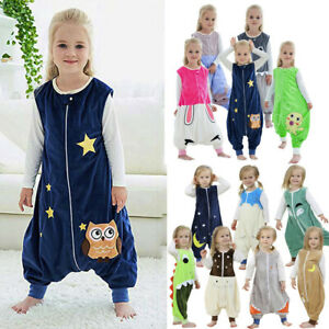 Toddler Kid Baby Boy Girl Cartoon Jumpsuit Fleece Wearable Blanket Sleep Bag US