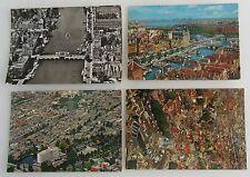 4 x AMSTERDAM vom Flugzeug aus Luftbild, Luftaufnahmen Postkarten frankiert