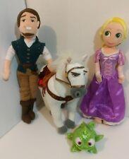 Disney Tangled Rapunzel Pascal Flynn and Maximus Plush Figure Lot of 4